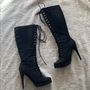 Knee High Black Lace-up Boot